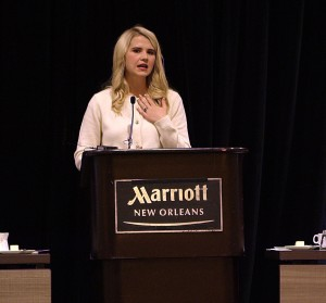 Elizabeth Smart sharing her story of bravery at the Hall of Fame 2017